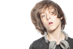 Moving teenager boy with headphones Royalty Free Stock Images