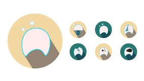 Moving teeth icons on a white background.