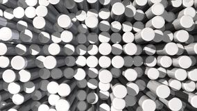 Moving texture background of white reflective extruded cylinders stock video