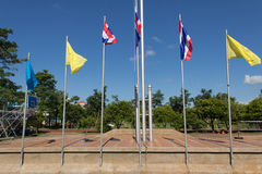 Moving of Thailand Flag. Flag flying in a stiff breeze against a clear blue sky Royalty Free Stock Images