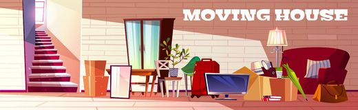 Moving things and furniture on new house vector stock illustration