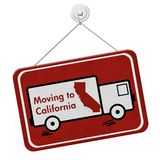 Moving to California red hanging sign stock images