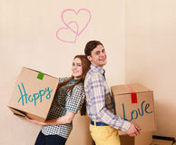 Moving to a new apartment Royalty Free Stock Photos