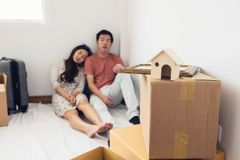 Tired couple sleep in new house Royalty Free Stock Photos