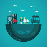 Moving to new home vector concept in flat style Royalty Free Stock Photography