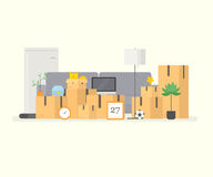 Moving to new house. Moving boxes Royalty Free Stock Photos