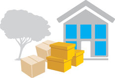 Moving to a new house. Icon Stock Image