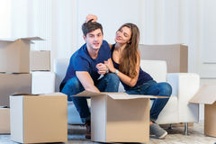 Moving to a new house and repairs in the apartment. Love couple Royalty Free Stock Photo