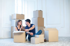 Moving to a new house and repairs in the apartment. Love couple Royalty Free Stock Images