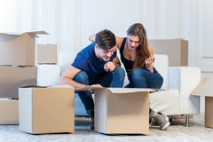 Moving to a new house and repairs in the apartment. Love couple Stock Photo