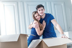 Moving to a new house and repairs in the apartment. Love couple Royalty Free Stock Photos