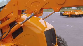 Moving of tractor`s hidraulic part stock video footage