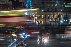 Moving traffic. In Trafalgar Square in London Royalty Free Stock Photo