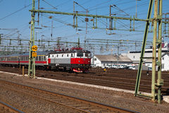 Moving train. Train moving across train yard in sweden Royalty Free Stock Photos