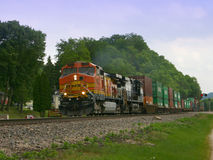 Moving Train. Train carrying cargo Royalty Free Stock Photo