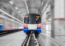 Moving train arrive station with motion blur Stock Photography