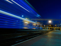Moving train blur. Blue moving night train blur Royalty Free Stock Photography