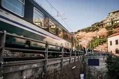 Moving train on the coast Royalty Free Stock Photography