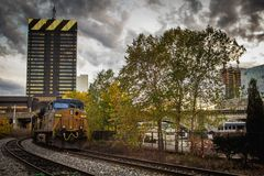 Moving train in Philadelphia, USA royalty free stock photography