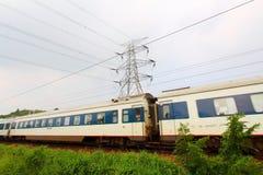 Moving train in Hong Kong at day Stock Photography