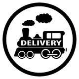 Moving train icon - delivery symbol Royalty Free Stock Image
