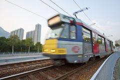 Moving Train In Hong Kong Stock Images