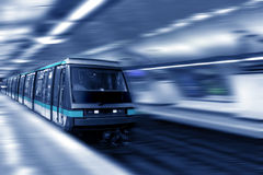 Moving train, motion blurred, Paris Underground. France. Royalty Free Stock Images