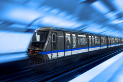 Moving train, motion blurred Stock Photos