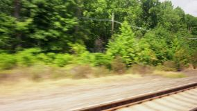 Moving train point of view footage. Railway rails stock footage