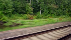 Moving train point of view footage. Railway rails stock video