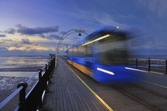 Moving Train, Southport pier Stock Photography