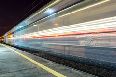 Moving train. The speed of a moving train Stock Photo