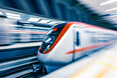 Moving train in subway station Royalty Free Stock Images