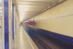 Moving train in subway tunnel Royalty Free Stock Photos
