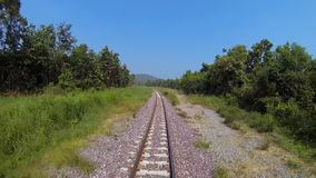 Moving train. Moving of train at sunny day. Front view of train stock footage