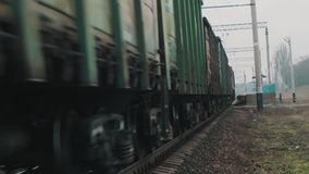 Moving train. The train, which quickly moves on rails stock video footage