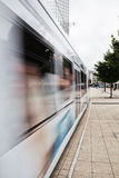 Moving tram in the city Stock Image