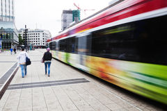 Moving tram in Frankfurt, Germany Royalty Free Stock Image