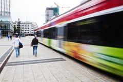 Moving tram in Frankfurt, Germany Royalty Free Stock Image