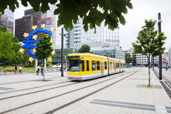 Moving tram in front of the European Central Bank Royalty Free Stock Images