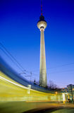 Moving Tram in front of Television Tower, Berlin Royalty Free Stock Photography