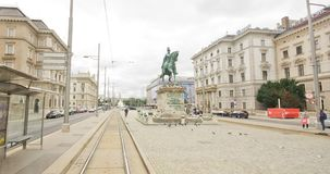 Moving tram hyperlapse in Vienna stock footage