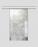 Moving Transparent Door on Checkered Background. Moving transparent glass door without doorhandle on checkered background. Automatic entry object with thin wavy Royalty Free Stock Photos