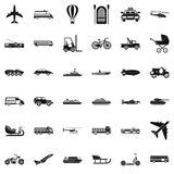 Moving transport icons set, simple style Royalty Free Stock Photo