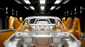 Moving transporter of conveyor belt with frameworks of unfinished cars stock video