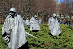 Moving tribute of sculptures fighting in rough terrain,Korean Veteran's Memorial,Washington,DC,2015 Stock Photos