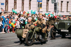 Moving Tricycle Sidecar, Soldiers, Machine Gun Of WW2. Victory Day Stock Photography