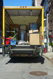 Moving Truck. The back of a moving truck, filled with boxes Royalty Free Stock Image