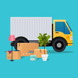 Moving truck and cardboard boxes. Moving House. Transport compan Royalty Free Stock Photo