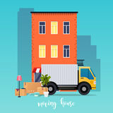Moving truck and cardboard boxes. Moving House. Transport compan. Y. Urban Landscape City Royalty Free Stock Images